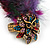 Oversized Multicoloured Feather 'Owl' Stretch Ring In Gold Plating - Adjustable - 13cm Length - view 4