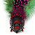 Oversized Green/Magenta/Red Feather 'Indian Skull' Stretch Ring In Silver Plating - Adjustable - 12cm Length - view 3