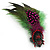 Oversized Green/Magenta/Red Feather 'Indian Skull' Stretch Ring In Silver Plating - Adjustable - 12cm Length - view 10