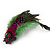 Oversized Green/Magenta/Red Feather 'Indian Skull' Stretch Ring In Silver Plating - Adjustable - 12cm Length - view 8