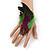 Oversized Green/Magenta/Red Feather 'Indian Skull' Stretch Ring In Silver Plating - Adjustable - 12cm Length - view 2
