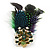 Oversized Green/Purple/Blue Feather 'Peacock' Stretch Ring In Gold Plating - Adjustable - 11cm Length - view 8