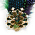 Oversized Green/Purple/Blue Feather 'Peacock' Stretch Ring In Gold Plating - Adjustable - 11cm Length - view 3
