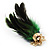 Oversized Green/Purple/Blue Feather 'Peacock' Stretch Ring In Gold Plating - Adjustable - 11cm Length - view 6