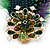 Oversized Green/Purple/Blue Feather 'Peacock' Stretch Ring In Gold Plating - Adjustable - 11cm Length - view 4