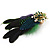 Oversized Green/Purple/Blue Feather 'Peacock' Stretch Ring In Gold Plating - Adjustable - 11cm Length - view 7