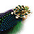 Oversized Green/Purple/Blue Feather 'Peacock' Stretch Ring In Gold Plating - Adjustable - 11cm Length - view 9