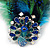 Oversized Green/Teal/Blue Feather 'Peacock' Stretch Ring In Silver Plating - Adjustable - 15cm Length - view 9