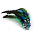Oversized Green/Teal/Blue Feather 'Peacock' Stretch Ring In Silver Plating - Adjustable - 15cm Length - view 11