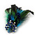 Oversized Green/Teal/Blue Feather 'Peacock' Stretch Ring In Silver Plating - Adjustable - 15cm Length - view 12