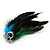 Oversized Green/Teal/Blue Feather 'Peacock' Stretch Ring In Silver Plating - Adjustable - 15cm Length - view 7