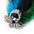 Oversized Green/Teal/Blue Feather 'Peacock' Stretch Ring In Silver Plating - Adjustable - 15cm Length - view 6