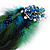 Oversized Green/Teal/Blue Feather 'Peacock' Stretch Ring In Silver Plating - Adjustable - 15cm Length - view 14
