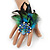 Oversized Green/Teal/Blue Feather 'Peacock' Stretch Ring In Silver Plating - Adjustable - 15cm Length - view 2