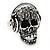 Black Crystal 'Skull Wearing Headphones' Ring In Burnt Silver Metal - Adjustable - 3cm Length