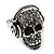 Black Crystal 'Skull Wearing Headphones' Ring In Burnt Silver Metal - Adjustable - 3cm Length - view 10