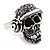 Black Crystal 'Skull Wearing Headphones' Ring In Burnt Silver Metal - Adjustable - 3cm Length - view 3
