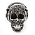 Black Crystal 'Skull Wearing Headphones' Ring In Burnt Silver Metal - Adjustable - 3cm Length - view 7