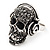 Black Crystal 'Skull Wearing Headphones' Ring In Burnt Silver Metal - Adjustable - 3cm Length - view 4