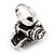 Black Crystal 'Skull Wearing Headphones' Ring In Burnt Silver Metal - Adjustable - 3cm Length - view 5