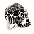 Black Crystal 'Skull Wearing Headphones' Ring In Burnt Silver Metal - Adjustable - 3cm Length - view 8