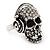 Clear Crystal 'Skull Wearing Headphones' Ring In Burnt Silver Metal - Adjustable - 3cm Length - view 3