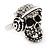 Clear Crystal 'Skull Wearing Headphones' Ring In Burnt Silver Metal - Adjustable - 3cm Length - view 9
