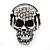 Clear Crystal 'Skull Wearing Headphones' Ring In Burnt Silver Metal - Adjustable - 3cm Length - view 7