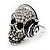 Clear Crystal 'Skull Wearing Headphones' Ring In Burnt Silver Metal - Adjustable - 3cm Length - view 10