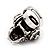 Clear Crystal 'Skull Wearing Headphones' Ring In Burnt Silver Metal - Adjustable - 3cm Length - view 4