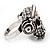 Clear Crystal 'Skull Wearing Headphones' Ring In Burnt Silver Metal - Adjustable - 3cm Length - view 5