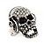 Clear Crystal 'Skull Wearing Headphones' Ring In Burnt Silver Metal - Adjustable - 3cm Length - view 11