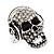 Clear Crystal 'Skull Wearing Headphones' Ring In Burnt Silver Metal - Adjustable - 3cm Length - view 8