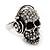 Clear Crystal 'Skull Wearing Headphones' Ring In Burnt Silver Metal - Adjustable - 3cm Length - view 12