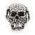 Clear Crystal 'Skull Wearing Headphones' Ring In Burnt Silver Metal - Adjustable - 3cm Length - view 13