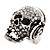 Clear Crystal 'Skull Wearing Headphones' Ring In Burnt Silver Metal - Adjustable - 3cm Length - view 6