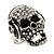 Clear Crystal 'Skull Wearing Headphones' Ring In Burnt Silver Metal - Adjustable - 3cm Length - view 14
