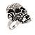 Clear Crystal 'Skull Wearing Headphones' Ring In Burnt Silver Metal - Adjustable - 3cm Length - view 15