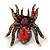 Oversized Multicoloured Swarovski Crystal Spider Stretch Cocktail Ring In Antique Gold Plating - view 6