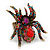 Oversized Multicoloured Swarovski Crystal Spider Stretch Cocktail Ring In Antique Gold Plating - view 4