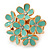Gold Plated 'Damsel Daisies' Crystal Set Enamelled Stretch Ring (Pastel Green) -  Adjustable size 7/8
