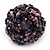 Large Purple/Pink/Black Glass Bead Flower Stretch Ring - Adjustable - view 2