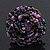 Large Purple/Pink/Black Glass Bead Flower Stretch Ring - Adjustable - view 4