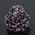 Large Purple/Pink/Black Glass Bead Flower Stretch Ring - Adjustable - view 5