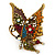 'La Mariposa' Swarovski Encrusted Butterfly Cocktail Stretch Ring In Burn Gold Finish (Multicoloured) - Adjustable size 7/8 - view 4