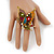'La Mariposa' Swarovski Encrusted Butterfly Cocktail Stretch Ring In Burn Gold Finish (Multicoloured) - Adjustable size 7/8 - view 2