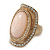 Pale Pink 'Marble Effect' Resin, Diamante Oval Flex Ring In Brushed Gold Finish - 37mm Across - Size 7/8