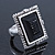 Vintage Inspired Square, Black Acrylic Bead Flex Ring In Silver Tone - 25mm Across - Size 7/8