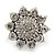 Rhodium Plated Diamante Sunflower Cocktail Ring - Size 7/8 Adjustable - view 2