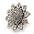 Rhodium Plated Diamante Sunflower Cocktail Ring - Size 7/8 Adjustable - view 10
